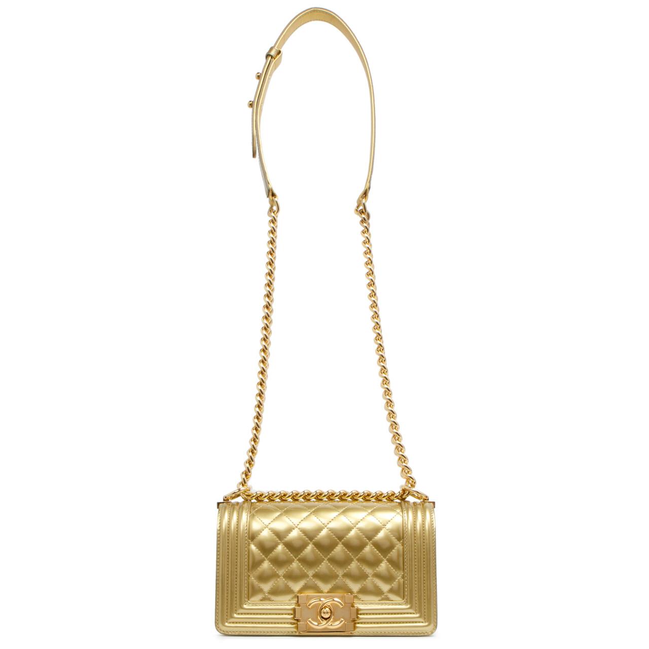 fbc18fd5e7b2 Chanel Gold Metallic Patent Small Boy Bag - modaselle