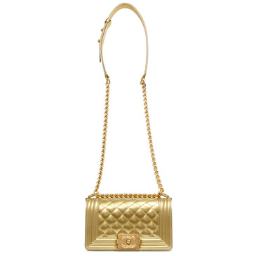 Chanel Gold Metallic Patent Small Boy Bag