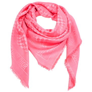 Christian Dior Pink Silk-Wool Checkered Scarf