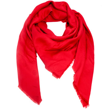 Cartier Red Silk-Wool Monogram Scarf