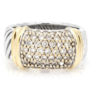 David Yurman Sterling Silver, 18K Yellow Gold & Diamond Metro Ring