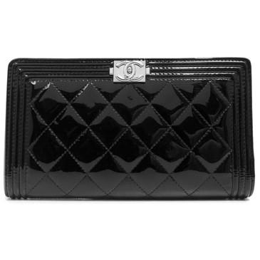 Chanel Black Patent Boy Yen Wallet