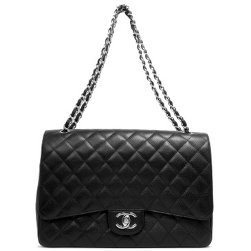 ad8b25b36d49 Chanel Black Quilted Caviar Maxi Classic Double Flap
