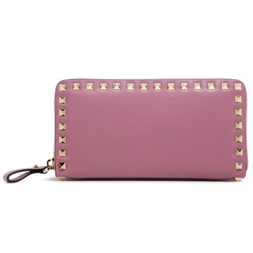 Valentino Rose Calfskin Rockstud Zip Around Wallet