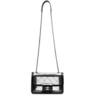 Chanel Transparent PVC & Lambskin Quilted Beauty Lock Flap