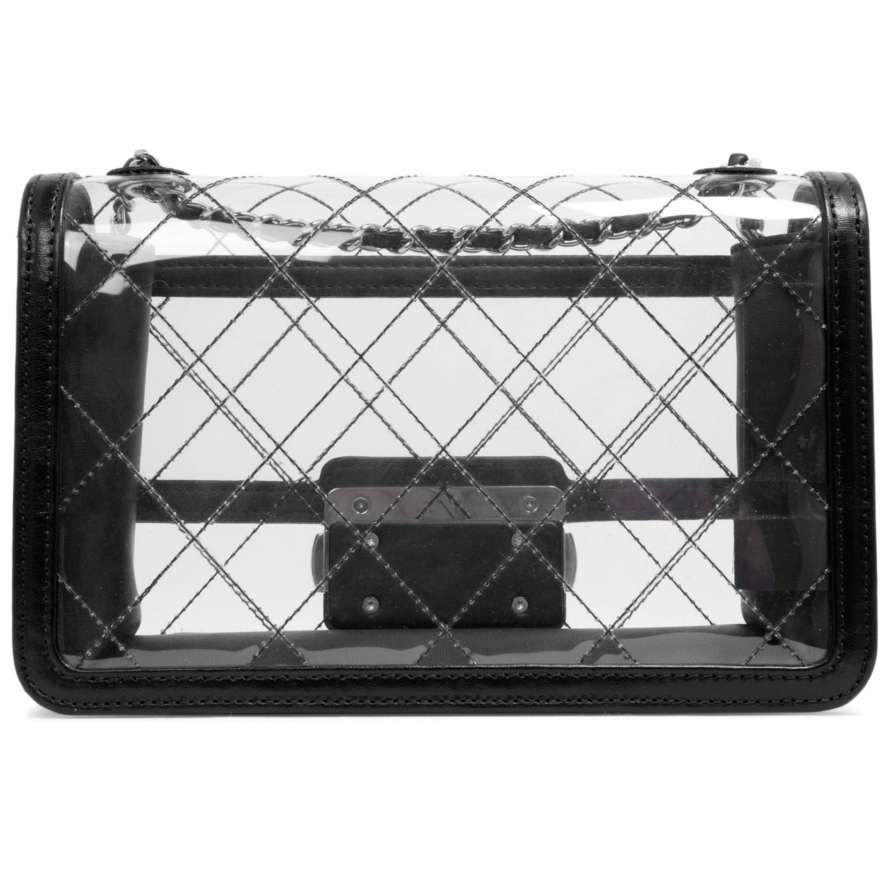 c3fe61597bd0 Chanel Transparent PVC & Lambskin Quilted Beauty Lock Flap - modaselle