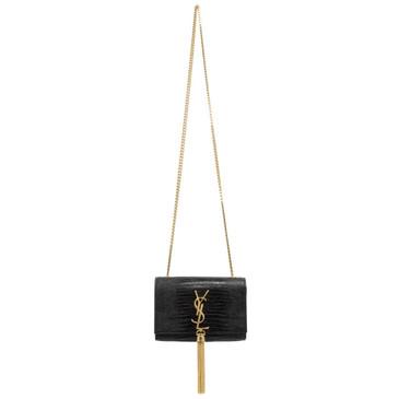 Saint Laurent Black Embossed Calfskin Small Kate Tassel  Satchel