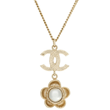 Chanel CC Pearl Camellia Flower Necklace