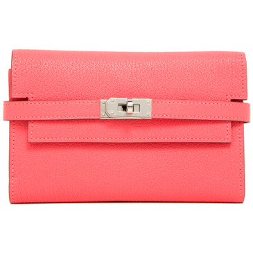 Hermes Rose Azalee Chevre Mysore Kelly Medium Wallet