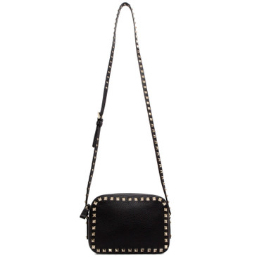 Valentino Black Pebbled Calfskin Crossbody Camera Bag