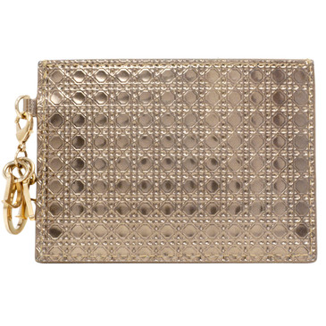 Christian Dior Metallic Champagne Calfskin Micro Cannage Card Holder