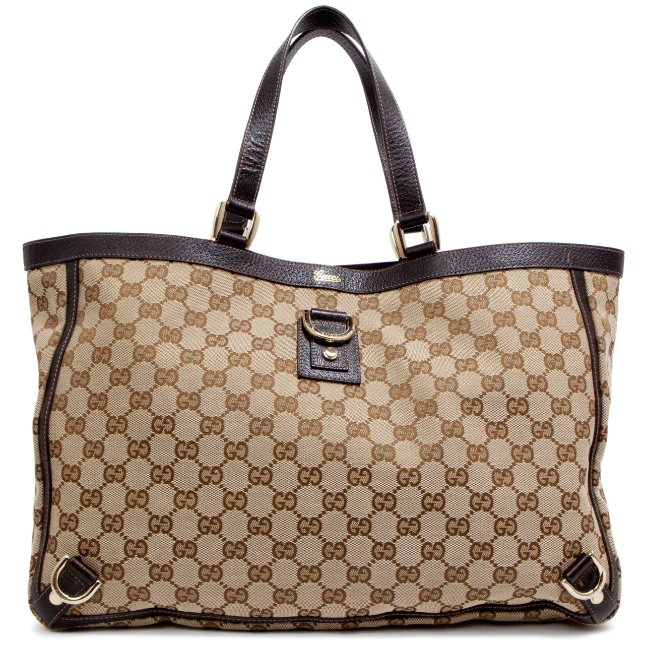 f77c381556d6 Gucci Brown Monogram Large Abbey Tote - modaselle
