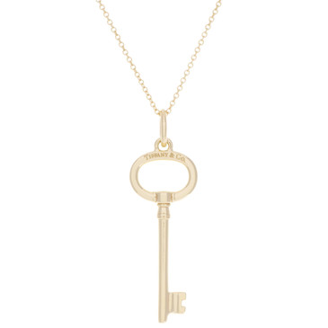 Tiffany & Co. 18K Yellow Gold Oval Key Pendant Necklace