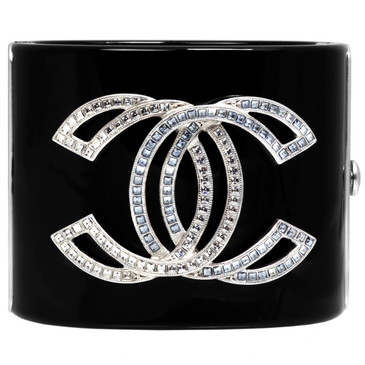 Chanel Black Resin Crystal CC Cuff