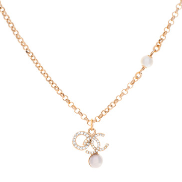 Chanel Pearl Crystal CC Drop Pendant Necklace