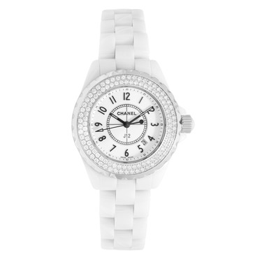 083dac3e59a0 Chanel White Ceramic & Diamond J12 33mm Quartz Watch H0967