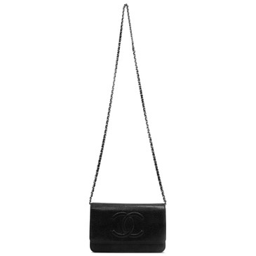 248efb4ca7b0 Chanel Black Caviar Timeless Wallet on Chain WOC
