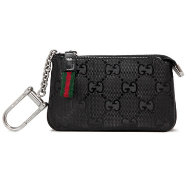 3385543ae7d294 Gucci Black Imprime Coated Monogram Canvas 500 by Gucci Key Pouch