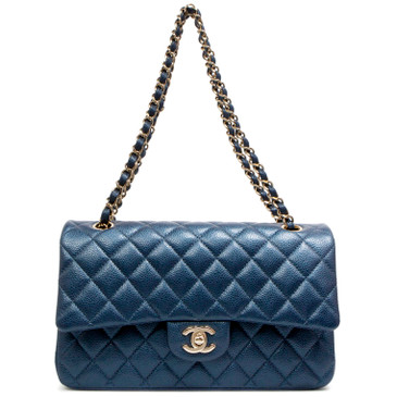 Chanel Pearl Dark Blue Caviar Medium Classic Double Flap