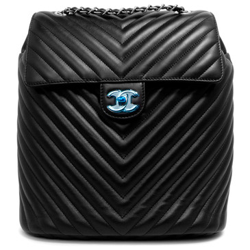 Chanel Black Chevron Quilted Calfskin Large Urban Spirit Backpack