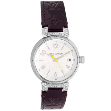 Louis Vuitton Stainless Steel & Diamond Tambour 34mm Quartz Watch Q1310