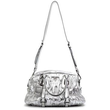 Prada Silver Nappa Gaufre Leather Satchel