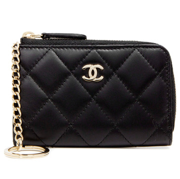 Chanel Black Lambskin Quilted Zipped Key Holder
