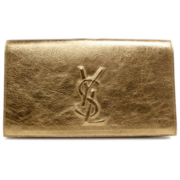 Saint Laurent Metallic Gold Calfskin Belle de Jour Clutch