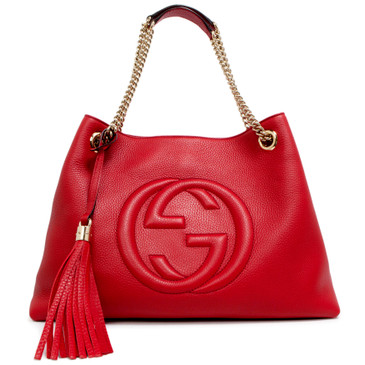 Gucci Red Pebbled Calfskin Medium Soho Chain Shoulder  Bag
