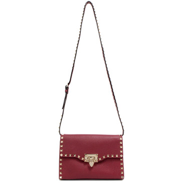 Valentino Burgundy Small Rockstud Crossbody Bag