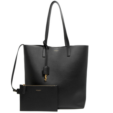 Saint Laurent Black Calfskin Medium North South Shopping Tote