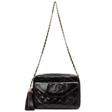 Chanel Black Lizard Vintage Tassel Camera Bag
