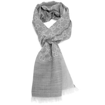 Gucci Grey Wool/Silk Monogram Scarf