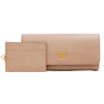 Prada Cammeo Saffiano Continental Flap Wallet