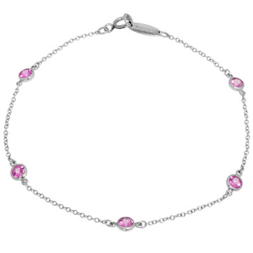 Tiffany & Co. Platinum & Pink Sapphire Color by the Yard Bracelet