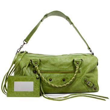 Balenciaga Green Perforated Lambskin Twiggy