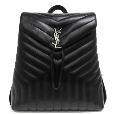 Saint Laurent Black Calfskin Matelasse Medium Loulou Monogram Backpack