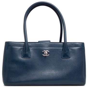 Chanel Blue Calfskin Small Cerf Tote