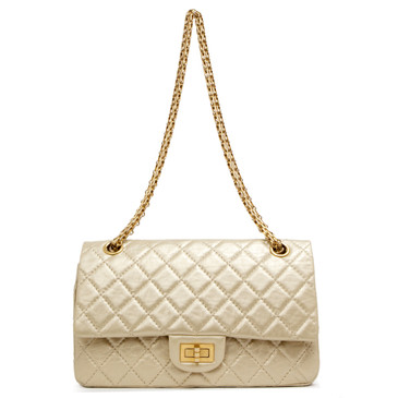 Chanel Gold Metallic Aged Calfskin 2.55 Reissue Double Flap 225