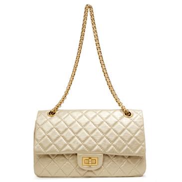 Chanel Gold Metallic Aged Calfskin 2.55 Reissue Double Flap 225