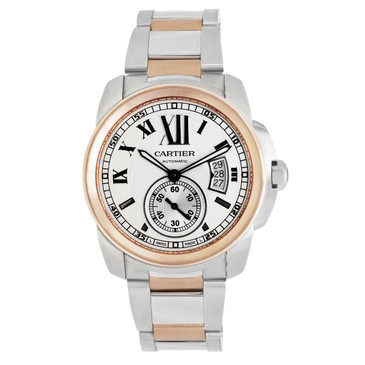 Cartier 18k Rose Gold & Stainless Steel Calibre De Cartier Automatic Watch W7100036