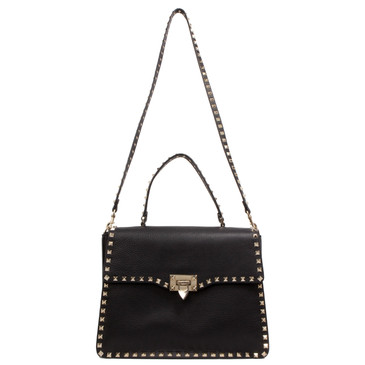 Valentino Black Pebbled Calfskin Single Handle Shoulder Bag