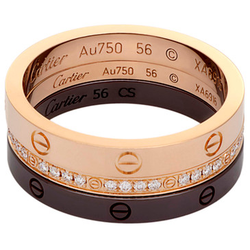 Cartier 18K Rose Gold, Diamond & Ceramic Love Ring Set
