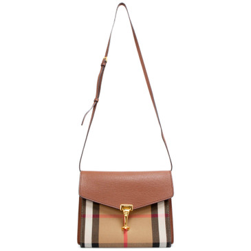 Burberry Brown Pebbled Calfskin House Check Small Macken Crossbody
