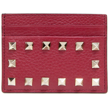Valentino Red Grainy Calfskin Cardholder