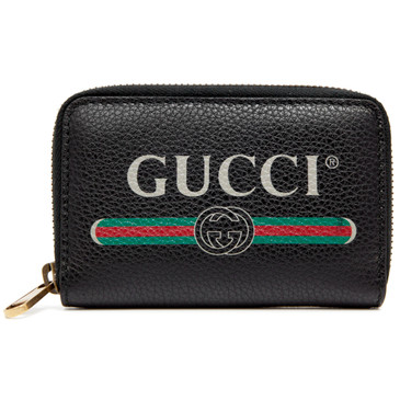 Gucci Black Print Leather Card Case