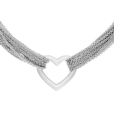 00575bb9113a7d Tiffany & Co. Sterling Silver Multi-Strand Mesh Heart Necklace