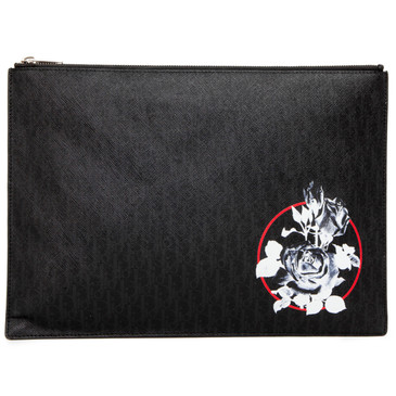 Christian Dior Homme Rose Print Zip Pouch