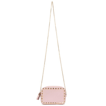 Valentino Pink Calfskin Small Rockstud Chain Camera Bag