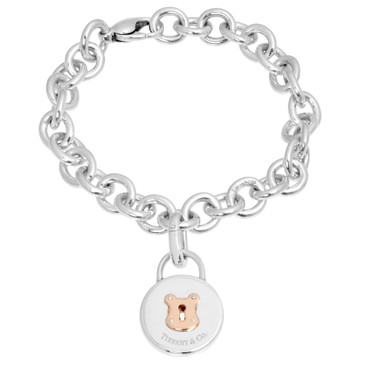 Tiffany & Co. Sterling Silver & 18K Rose Gold Lock Charm Bracelet